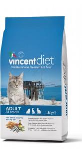 Pilnavertis subalansuotas pašaras visų veislių suaugusioms katėms su melsvanugariu ešeriu